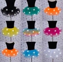 Hot 8 couleurs robe de bal jupe femmes fille lumière LED Up Tulle Tutu danse jupe fantaisie Hip Hop poule partie Halloween Costume couches