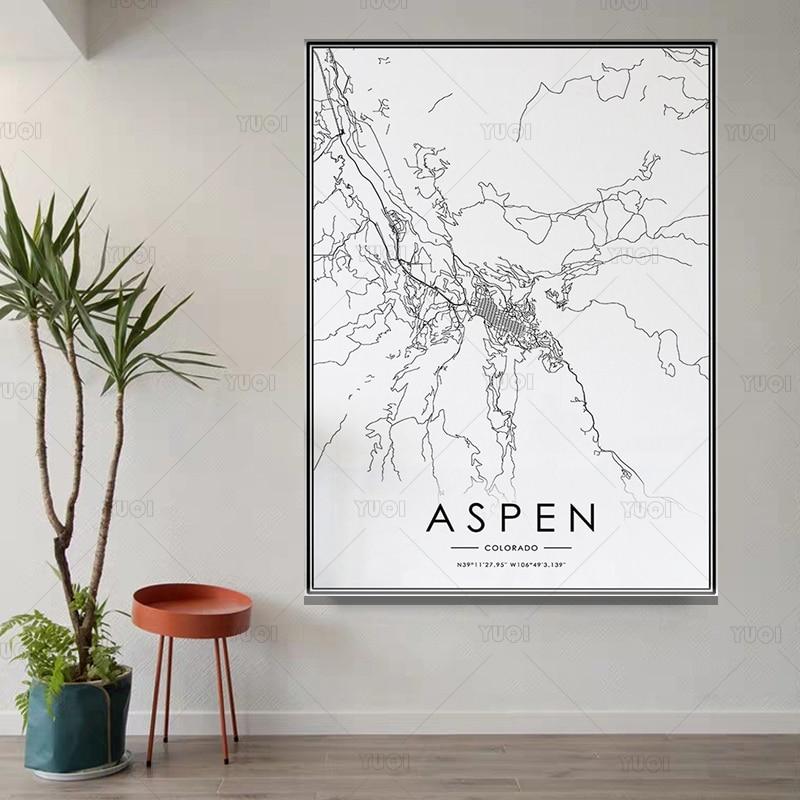 Póster de mapa de ciudades del mundo, pintura en blanco y negro,...