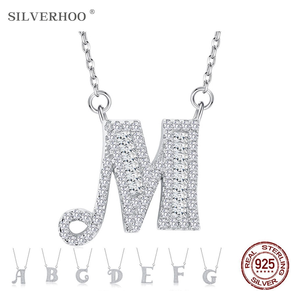 Advanced Pendant Necklaces For Women Cubic Zirconia 925 Sterling Silver letter Necklace Simple luxury Necklace Fine Jewelry Gift bff infinity necklace 925 sterling silver aaa cubic zirconia cyrstal necklace always best friend sister forever gift p6093b
