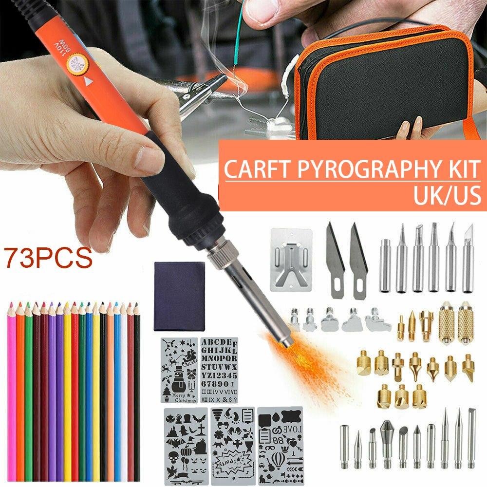 US/UK Plug 73 Uds Kit de Grabado de la pluma de la quema de madera multifunción mecanizado de molde de pirograbado herramienta de artesanía de pirograbado de madera