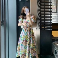 2020 new arrivals floral print long summer dress for ladies backless lace up feminine sundresses chic womens clothing