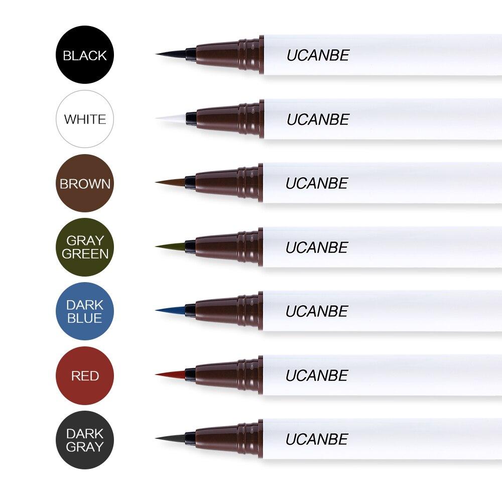 UCANBE 7 colores negro marrón líquido delineador de ojos lápiz ultrafino punta no se decolora delineador de ojos maquillaje impermeable cosmético de larga duración