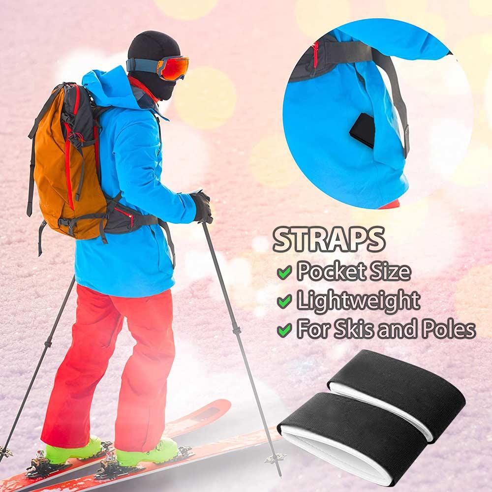 Uds.-Soporte de correa de esquí, cinta de sujeción portátil de Velcro EVA,...