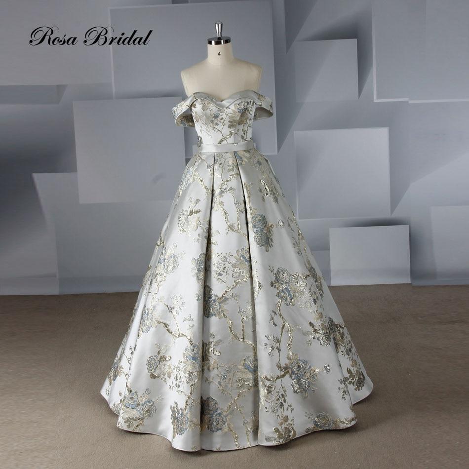Rosabridal-فستان زفاف على شكل حرف A ، فستان زفاف من الساتان مع ذيل ، قص ، أكتاف عارية ، مع أربطة ، موضة 2019