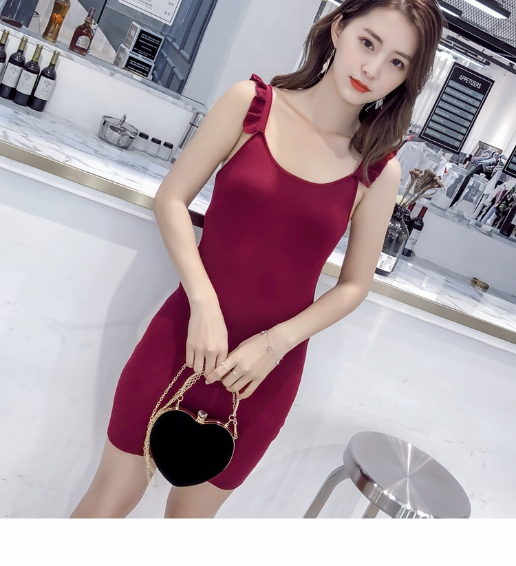 Hong Kong Style Flounced Sleeveless Vest Summer Chic Strap Loose Knitted Bottoming A- line Dress T-s
