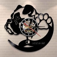 Personalized Dog Wall Clock Different Dog Breeds Custom Vinyl Record Wall Clock Home Decor Wall Decor Dog Name Vinyl Clock Gift