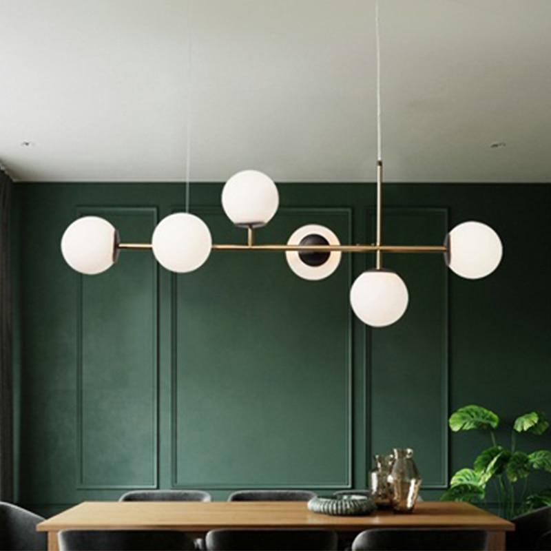Современные подвесные светильники в скандинавском стиле, стеклянные люстры для столовой, гостиной, спальни, промышленные дизайнерские осв...