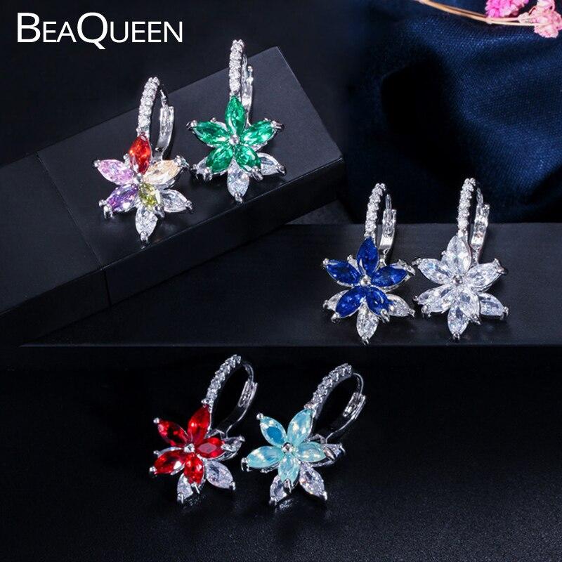 Beaqueen linda flor multicolorido zircônia cúbica pedras simples bonito brincos de moda festa jóias para senhoras e050