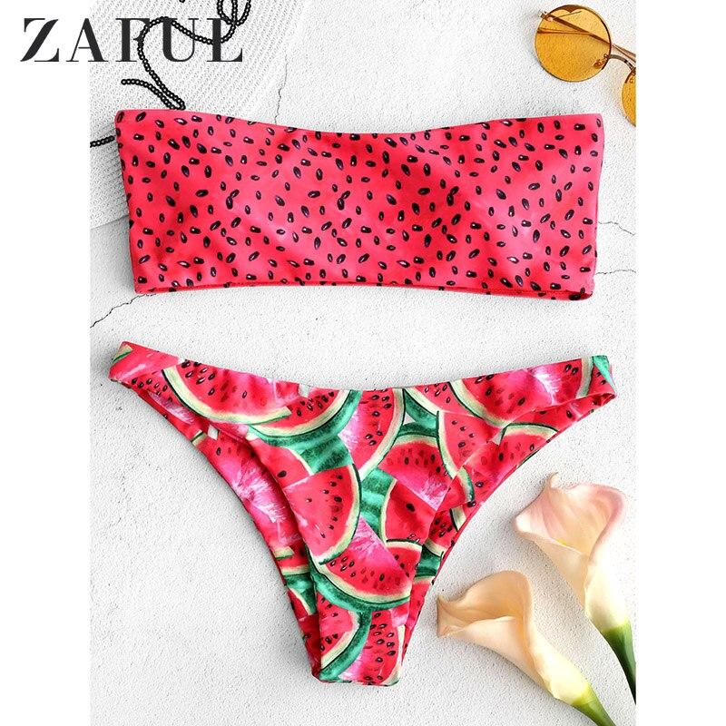 Zaful melancia bandeau conjunto de biquíni siwmwear feminino cintura alta maiô sexy acolchoado fruta melancia maiô biquni