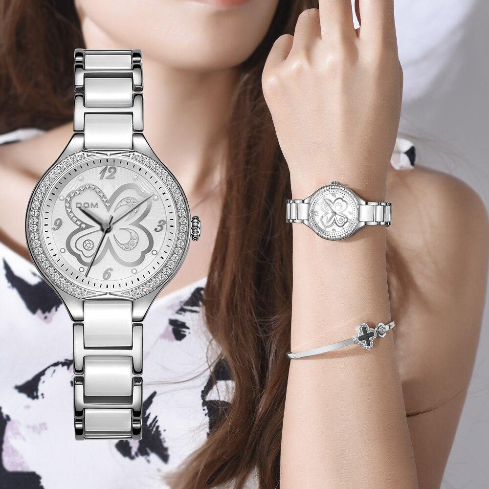 دوم أزياء النساء الماس المعصم الساعات السيراميك مربط الساعة أعلى الفاخرة العلامة التجارية اللباس السيدات زهرة كوارتز ساعة ووتش G-1271D-7MS