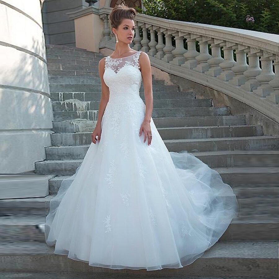 Vestido de noiva com renda, chique gola de tule cintura natural corte em linha a renda aplique com miçangas vestido de noiva