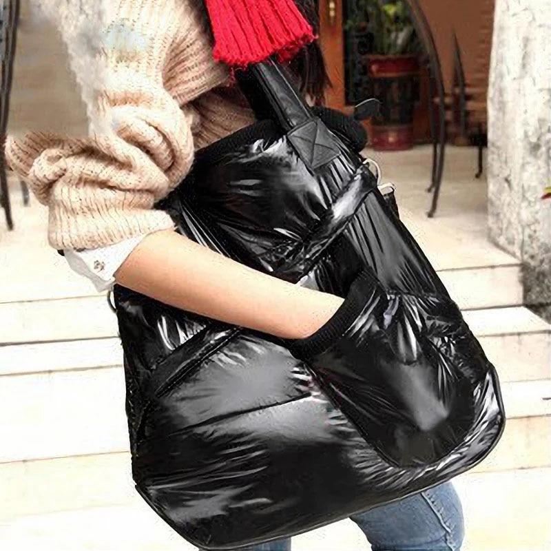 Women Handbag 2020 Fashion Winter Space Cotton Shoulder Crossbody Bag Luxury Down Female Warm Tote Bags Large Black Clutches Hot