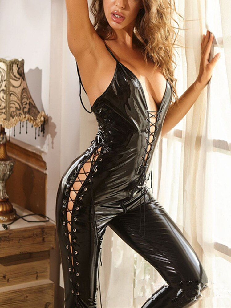 Sexy Women Black PVC Leather Latex Catsuits Open Crotch Elastic Wetlook PU Lingerie Bodysuit Clubwea
