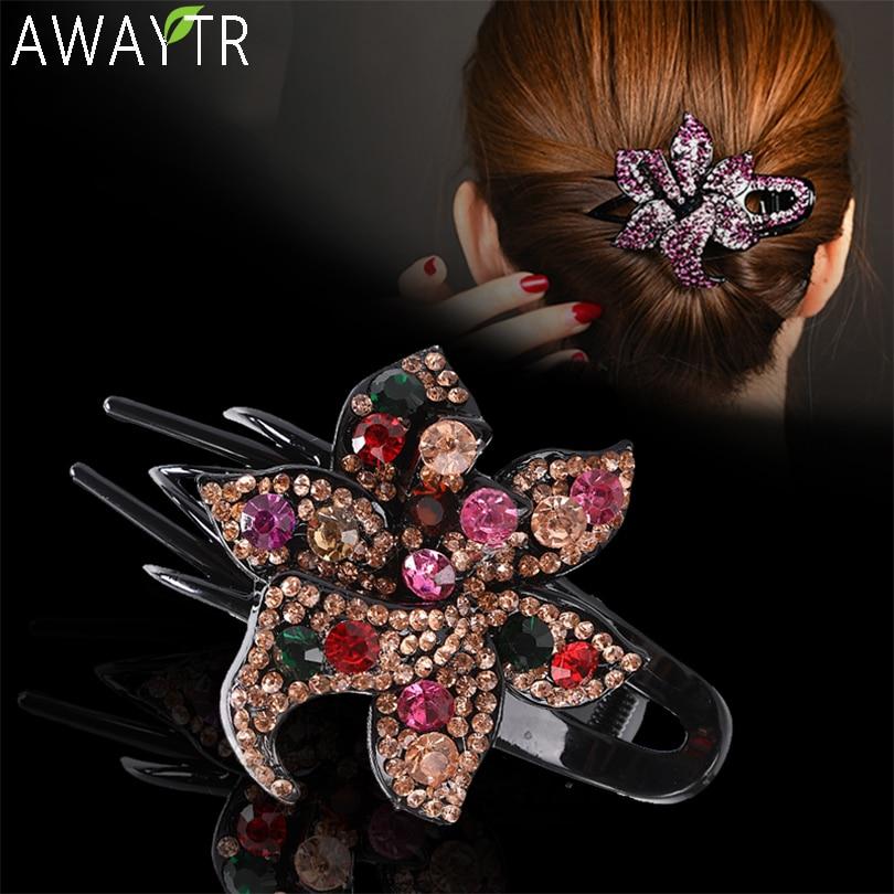 AWAYTR, flor colorida de moda, horquilla de cristal con diamantes de imitación, horquilla hueca, Clip de pelo con forma de corazón, pasador para mujer, Clips, accesorios para el cabello