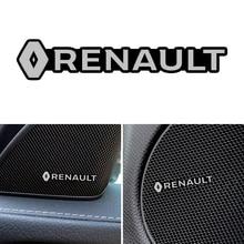 3D Auto Styling Sticker Aluminium Embleem Interieur Speaker Audio Badge Voor Renault Koleos Stofdoek Megane 2 Logan Renault Clio Captur