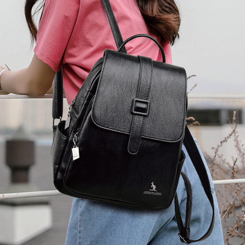 Новинка 2021, женский рюкзак, винтажный кожаный женский Вместительный рюкзак, высококачественный Женский дорожный рюкзак с защитой от кражи