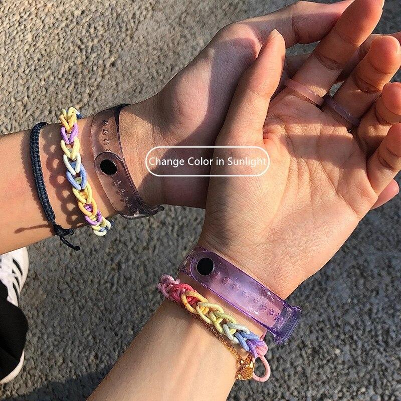 Waterproof Silicone Light-changeable Watchband Couple Bracelet Suitable For Xiaomi Bracelet 3 4 5 6
