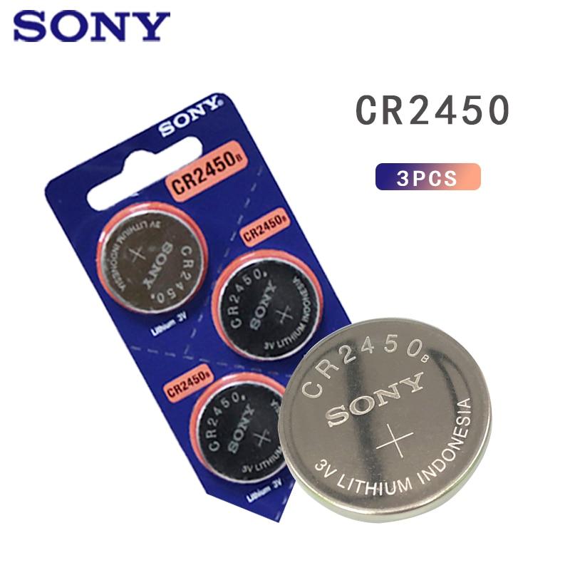3 pces 3v sony li-ion relógio cocells botão bateria cr2450 dl2450 br2450 lm2450 kcr5029 pilhas bouton