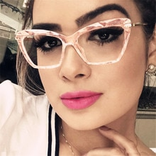 2020 Vintage Pink Cat Eye Glasses Clear Lens Anti-Radiation Eyewear Metal Frames Optical Computer Sp