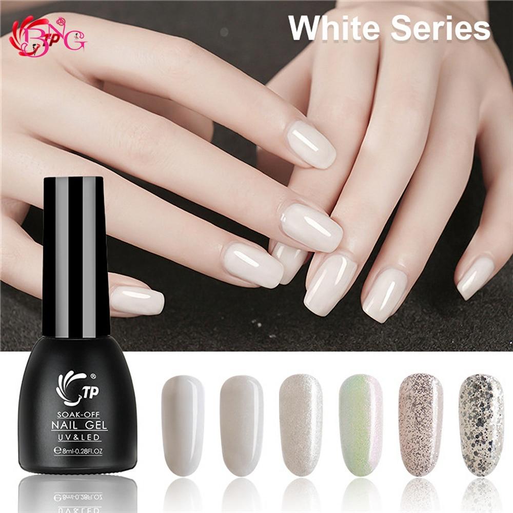Botella de vidrio 8ml uñas Gel UV Set polaco blanco Color serie Gel polaco UV laca de Gel para uñas barniz para manicura Diseño de Arte de uñas