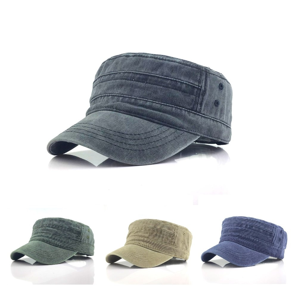1Pc Solid Color Men's Army Cap Military Adjustable Flat Cap Classical Style Sunscreen Sun Hat Casual