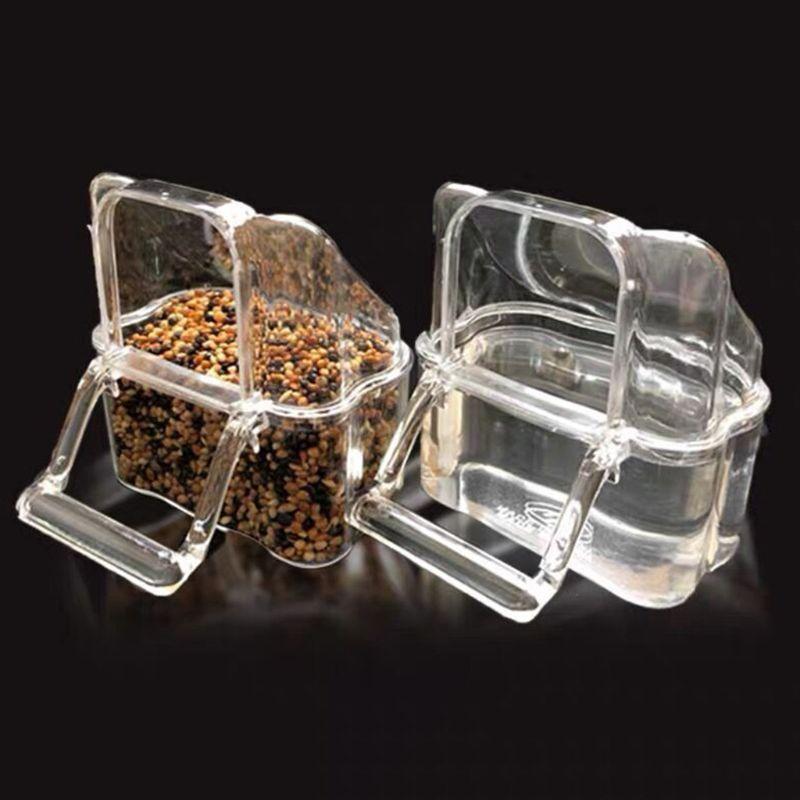 Taza de plástico transparente para comida con pájaros loro, tazón para agua limpia de la empresa Silo Waterer