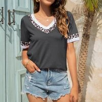 women short sleeve female 2021 summer v neck tops casual t shirts basic tops leopard patchwork womens tees plus size 2xl