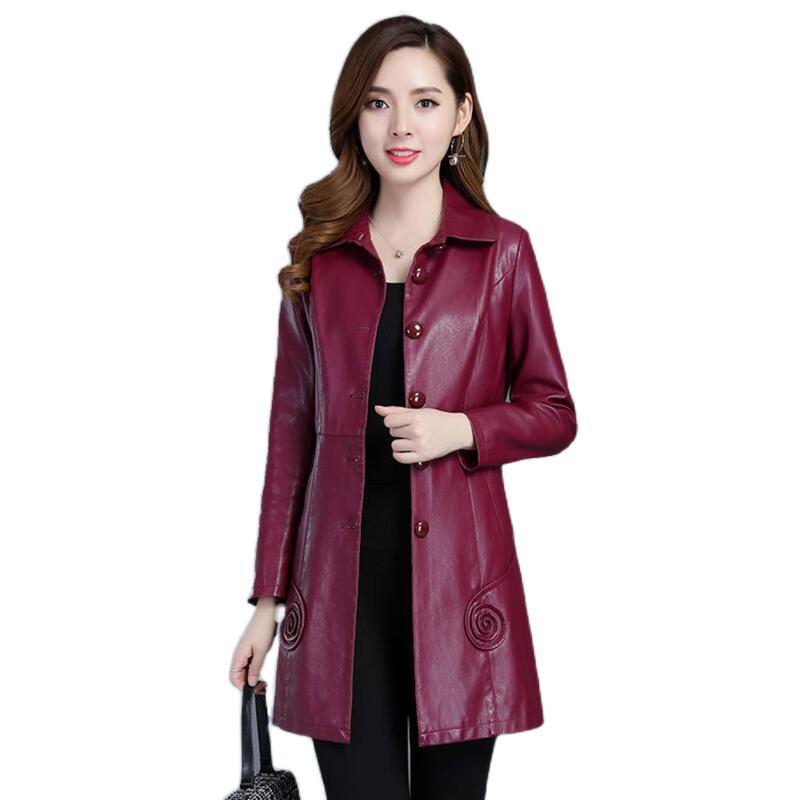 معطف جلد PU مقاس 7XL للنساء ، ملابس جلدية طويلة ورقيقة ، جاكيت أسود للدراجات النارية ، مجموعة جديدة 2021