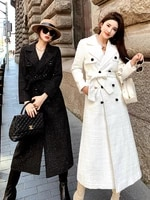 autumn and winter 2021 new korean white woolen coat womens middle long temperament tweed double breasted woolen coat