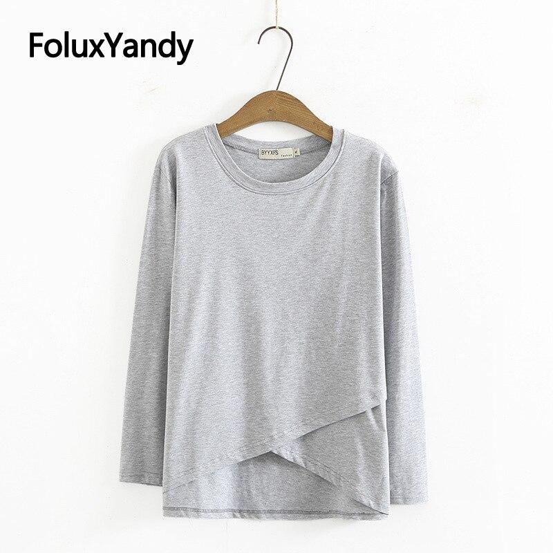 Однотонные повседневные футболки с длинным рукавом, женские топы, весна-осень, свободные топы с круглым вырезом, футболки KKFY5645