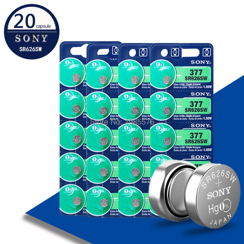 20Pcs Voor Sony 1.55V AG4 377A 377 LR66 LR626 SR626SW SR66 AG4 Ag 4 Knop Batterijen Voor Horloge speelgoed Afstandsbediening Cell Coin Batterij