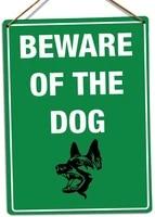 pottelove beware of the dog green art guard danger warning decor novelty art sign funny aluminum metal tin signs