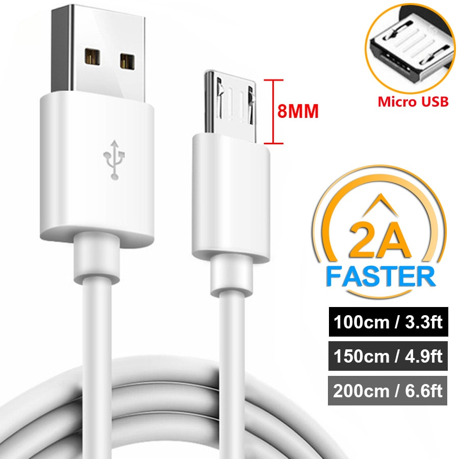 1m/1.5m/2m 8mm Long Micro USB Connector Charger Cable 2A for Oukitel K10000 K6000 Pro K3 Doogee S60 S30 Blackview BV6000S BV6000