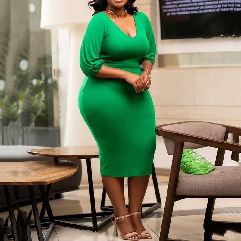Vestido de talla grande, 2019 XL, Color puro, holgado, con escote en V, ceñido, informal, femenino, ajustado por debajo de la rodilla, africano