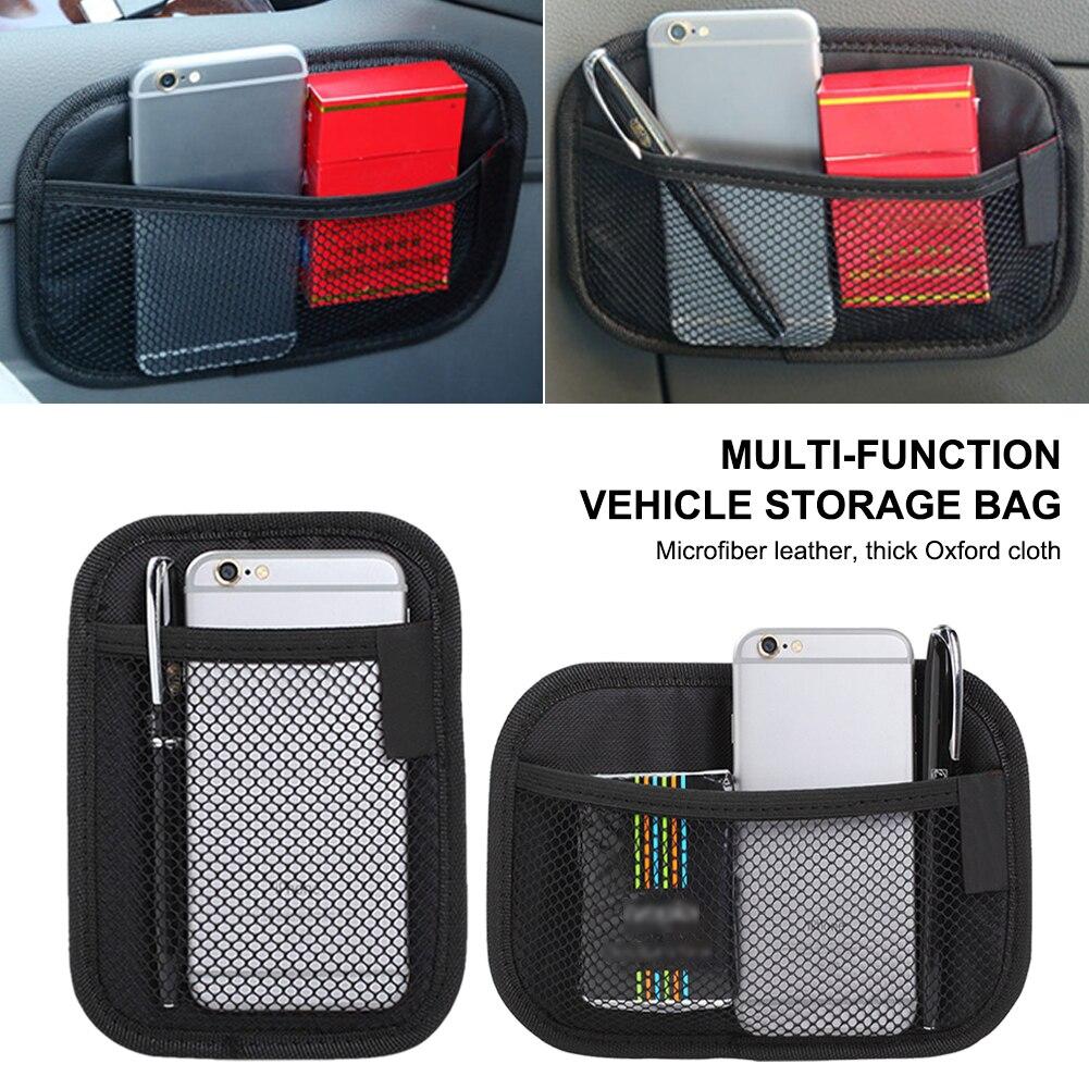 Автомобильная сетка для хранения сумка из ткани Оксфорд, органайзер на заднее сиденье, сетчатый Карманный держатель для телефона, органайз...