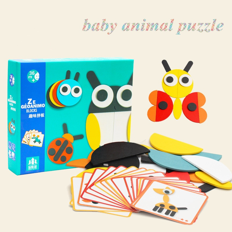 logwood baby wooden toys wooden block 26pcs learning educational toys for children animal words letter learn gifts for baby Animal Wooden Board Set Colorful Baby Educational Wooden Toy for Children Learning Developing Toys