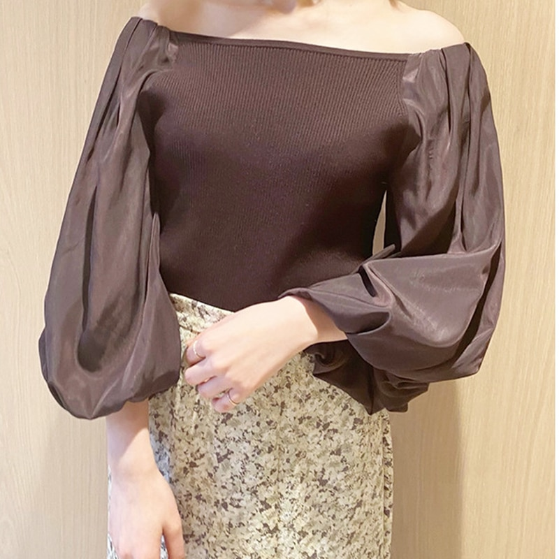 Kuzuwata japão estilo simples sólido lanterna manga camisas primavera verão nova malha retalhos blusas sexy slash neck blusa feminina