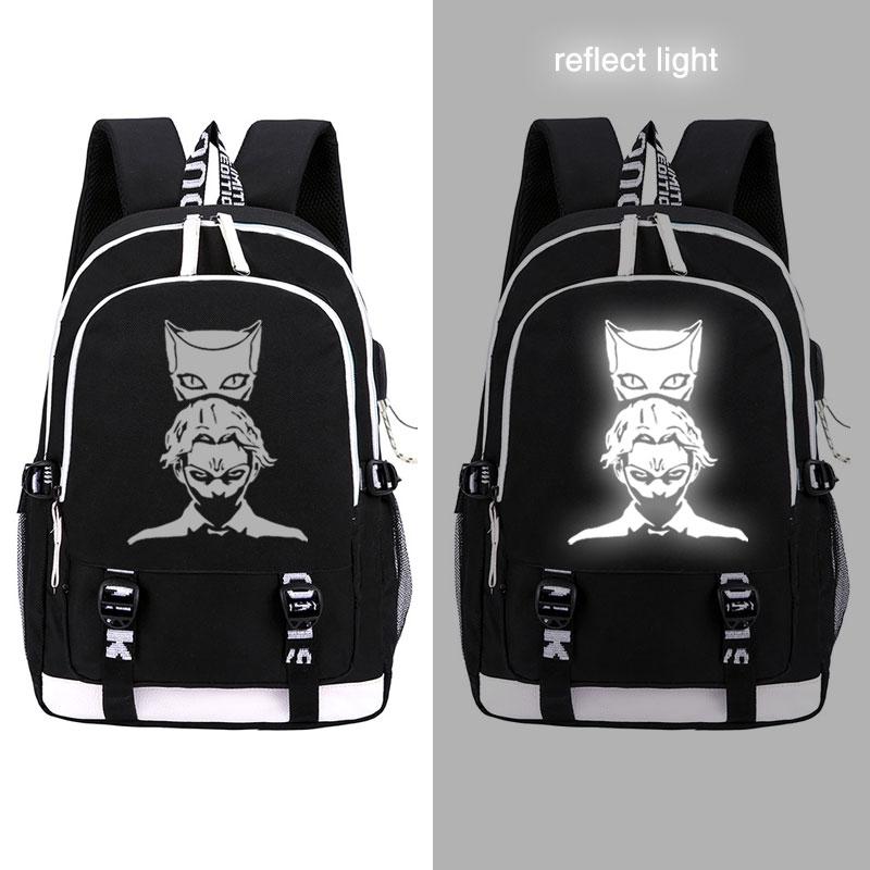 JOJOS BIZARRE ADVENTURE mochila de moda usb portátil luminoso bolsa de escuela para niñas chicos adolescentes bolsa de libros cool para niños