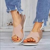 summer comfortable slip on womens sandals elastic textile seam casual sandals womens beach shoes classic non slip lightweight