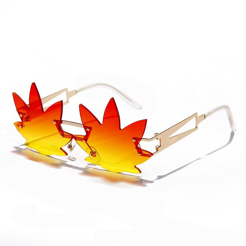 Mulher maple leaf flame óculos de sol sem aro onda óculos de sol halloween novidade óculos de olho