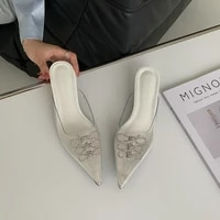 2021 spring and summer diamond studded crystal baotou high heeled semi drag rhinestone bow transparent sandals pointed toe mules