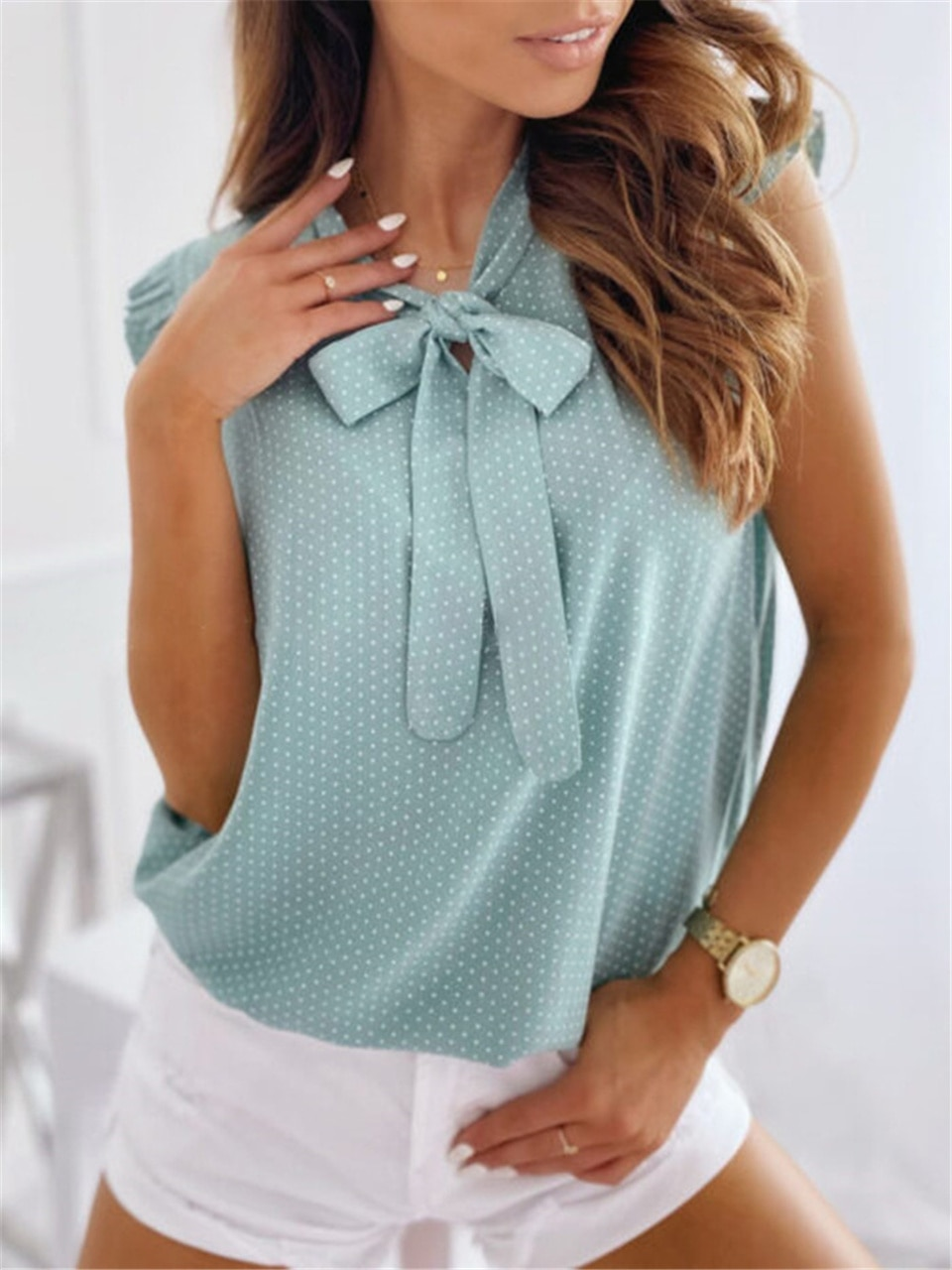 блузки и рубашки Блузки Sleeveless Shirt Summer Bow Blouse Shirt Women Polka Dot Blusas Female Ruffle Blouses Pullover Women Vintage Blusa Блузки