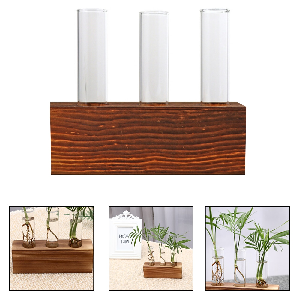 Гидропонное бонсай для растений из высокосиликатного стекла, Хрустальная тестовая трубка, ваза, цветочные горшки с деревянным подносом