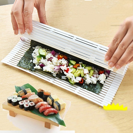 DIY Sushi Set manteles de bambú enrollables paletas de arroz herramientas Sushi cortina molde práctico portátil algas Sushi Nori rollo herramienta MM60SS