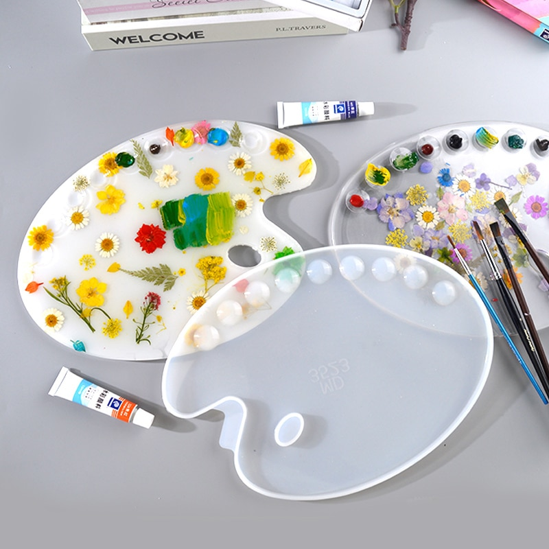 Dm062 diy paleta de cores cola epoxy resina molde de desenho placa molde de silicone para material de enchimento de mesa fontes da arte