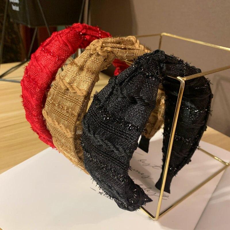 Alta calidad nueva moda de lana de pelo de cinta de cabello con nudo bandas de cabello para mujeres brillante banda de pelo accesorios para el pelo sombreros
