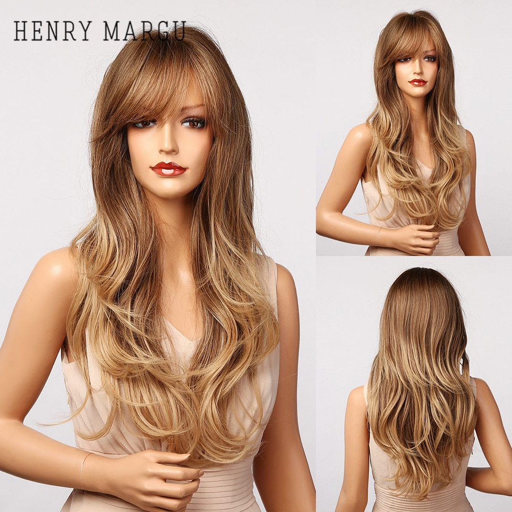 HENRY MARGU Long Wavy Synthetic Wigs With Bangs Ombre Brown to Blonde Natural Cosplay Hair Wigs for Women Heat Resistant Wigs