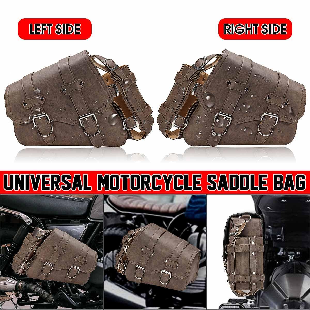حقيبة دراجة نارية من الجلد الصناعي ، حقيبة تخزين جانبية مقاومة للماء لهوندا/ياماها/سوزوكي