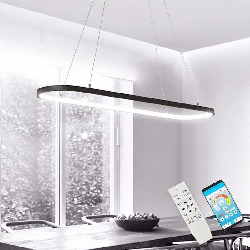 الحديثة LED الثريا لغرفة الطعام المطبخ تركيبات ضوء مع البعيد الأسود بريق تعليق مطعم بار شنقا مصباح
