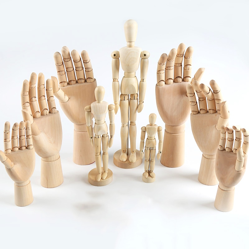 5/7/8/10/12 inches tall wooden hand drawing sketch wooden mannequin model mannequin hand moving limbs human artist model